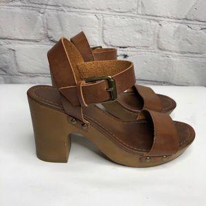 MIA Wedge Heel Leather Buckle Sandal - size 6